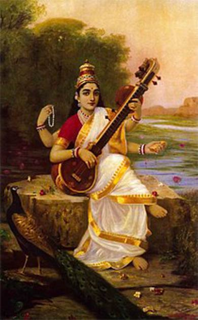 Painting of the Goddess Saraswati by Raja Ravi Varma. (Public Domain)