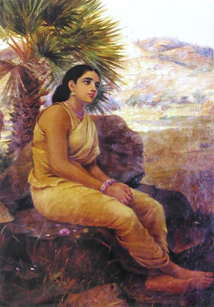 Sita is sent on her second exile. Painting by Raja Ravi Verma. (Public Domain)