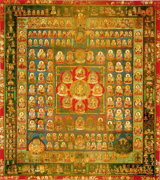 The Womb Realm, the center square represents the young stage of Vairocana. He is surrounded by eight Buddhas and bodhisattvas. (Ismoon / Public Domain)
