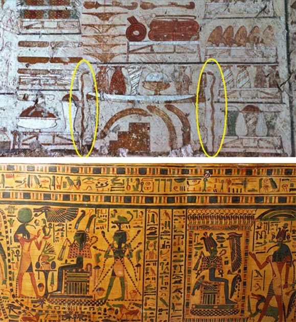 Top: Depiction of copper serpent wands/staffs, from the Tomb Chapel of the Vizier Rekhmire, ~1450 BC, Thebes. (Osirisnet) Bottom: Painted coffin of Padu-amen from the Middle Kingdom, showing many gods, including Heka, the personification of magic, holding four serpents, guarding Osiris on this throne. (kimbellart.com)