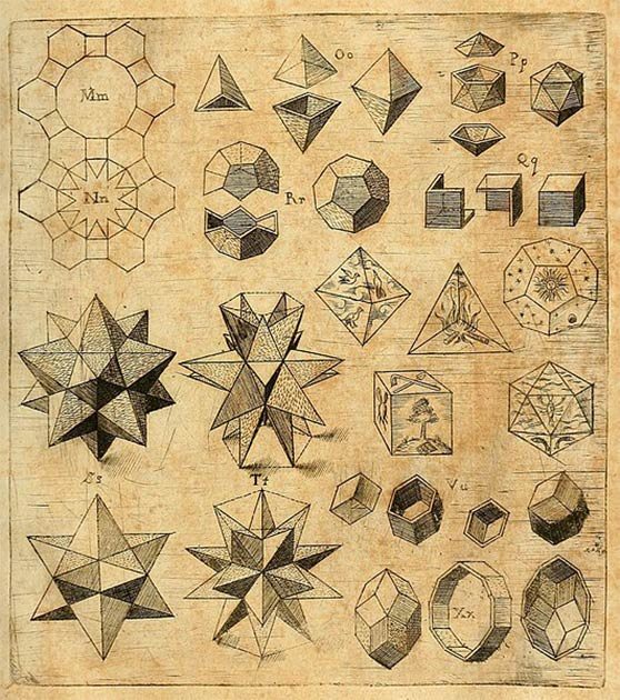 Platonic solids were revived during the 16th century by German astronomer Jogannes Kepler, in his Harmonices Mundi. (Johannes Kepler / Public domain)