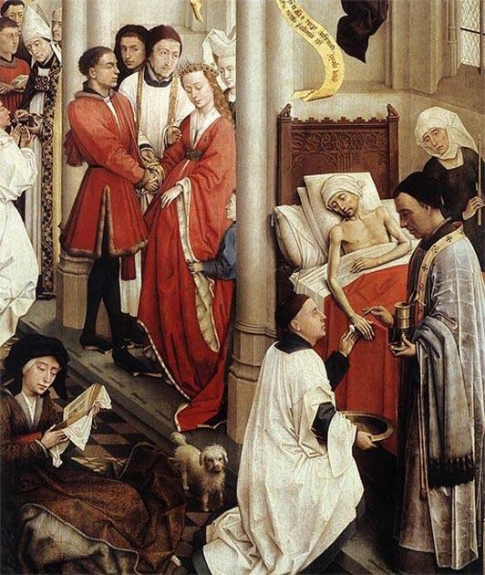 Seven Sacraments Altarpiece (detail) (1445-1450) by Rogier van der Weyden. (Public Domain)