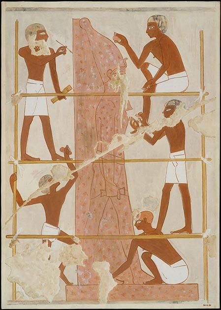 Depiction of wooden scaffolding from the Tomb of the Vizier Rekhmire, ~1450 BC. (Metropolitan Museum of Art / Nina De Garis Davies / Public domain)