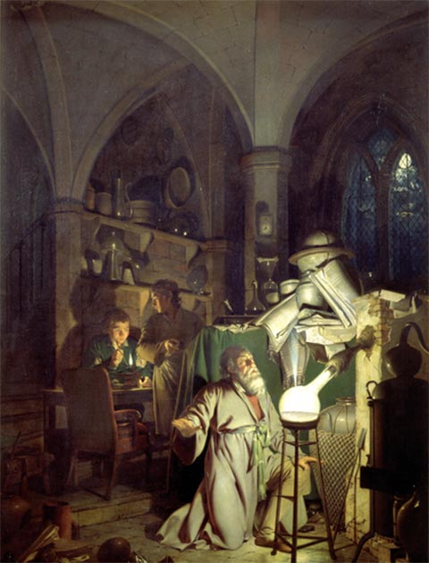 Joseph Wright of Derby: 'The Alchymist, in Search of the Philosopher's stone, Discovers Phosphorus, and prays for the successful Conclusion of his operation, as was the custom of the Ancient Chymical Astrologers.' 1771. (Public Domain)