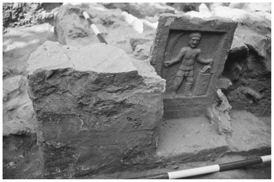 In situ gladiator tombstone excavated in the cemetery in Ephesus