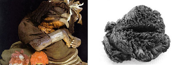 Left: Inca child mummy with preserved brain