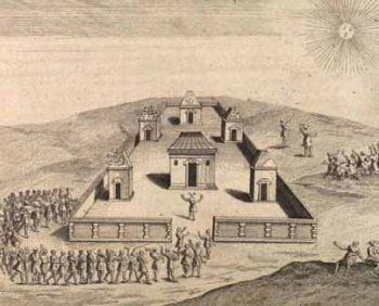 A drawing of an Inca sun ceremony
