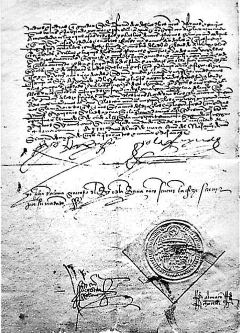 Stamped copy of the Decree of the Alhambra