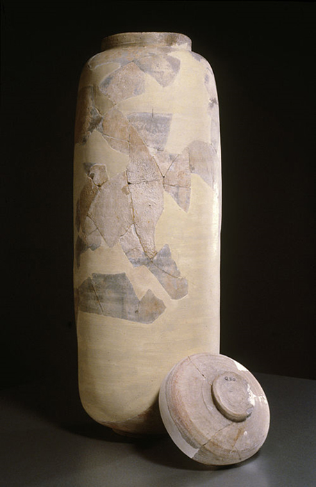 From 1948 to 1956 researchers found 80 intact scrolls and more than 20,000 fragments in 11 caves of Qumran. Every book of the Bible's Old Testament except Esther are represented in the scrolls and fragments. Jews of ancient times used jars of this kind to store manuscripts on parchment, copper and papyrus.