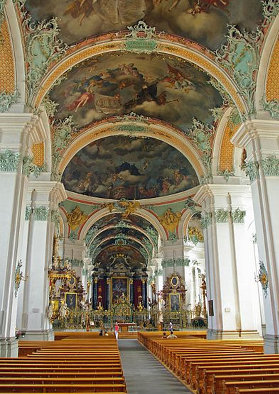 The interior of the Cathedral is one of the most important baroque monuments in Switzerland.