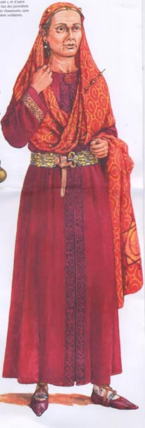 An interpretation of Queen Arnegunde in her burial clothing.