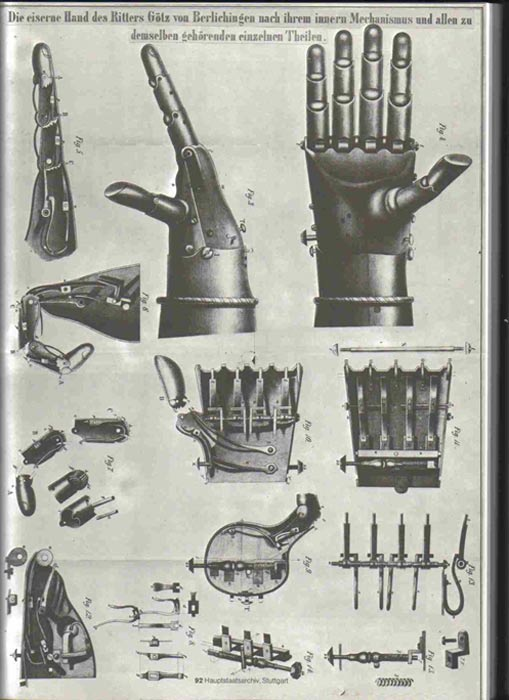 Steel engraving of items the iron hand of the knight Götz von Berlichingen.