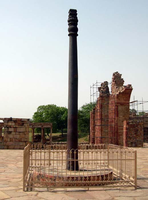 The iron pillar in the Qutb complex near Delhi, India.