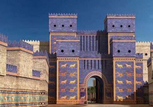 A modern recreation of the famous Ishtar Gates of Babylon