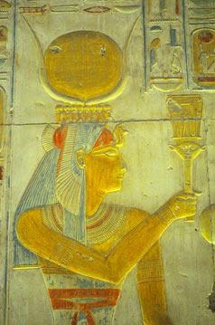 The Goddess Isis playing the naos sistrum of Hathor