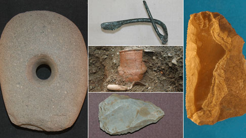 Some of the items uncovered during road works in Scotland
