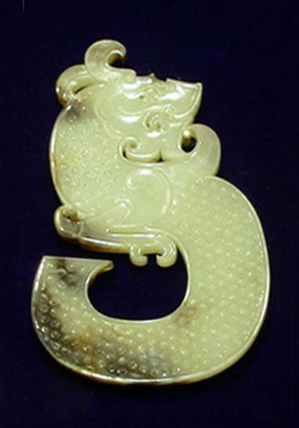 Example of a jade dragon from the Chinese Western Han Dynasty King of Chu's tomb.