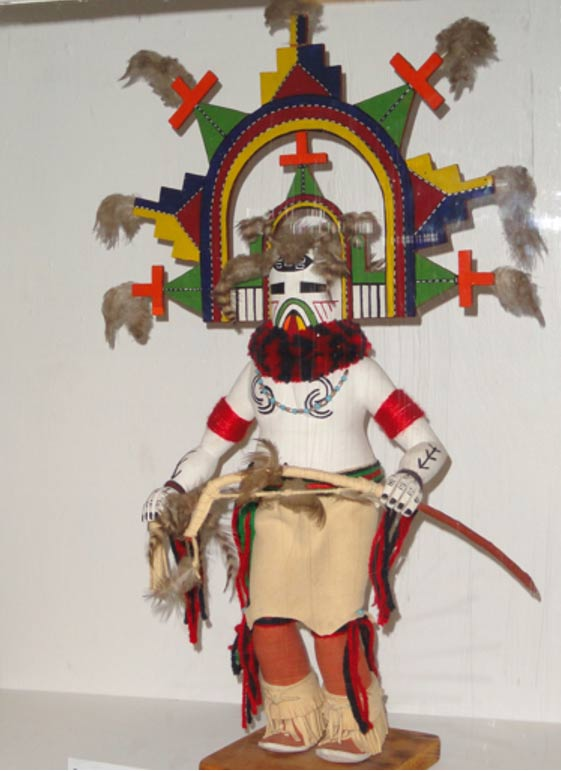 A beautiful kachina figure in Danforth Museum. Kachina may refer to anthropomorphic spirit beings, masked dancers who personify them or dolls that represent them. Pueblo Indians still invoke these beings, as their ancestors had since long before the Spanish arrived in Pueblo lands in 1540 and tried to eradicate their culture.