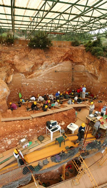 Excavation at a karst cave in Atapuerca.