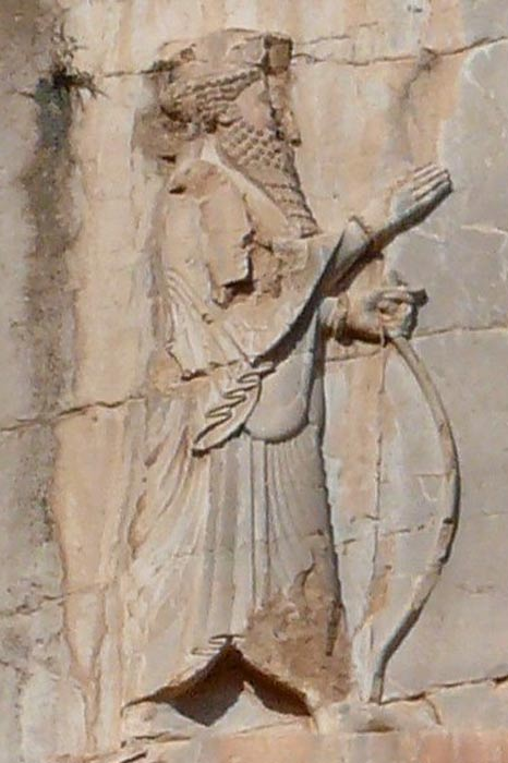 Image of king Xerxes I of Persia from his tomb at Naqsh-e Rustam.