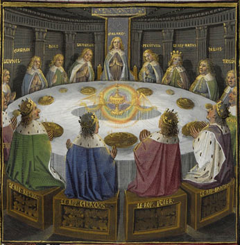 King Arthur's knights, gathered at the Round Table