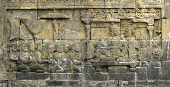 ing and queen with subjects, bas relief from the Shailendra dynasty