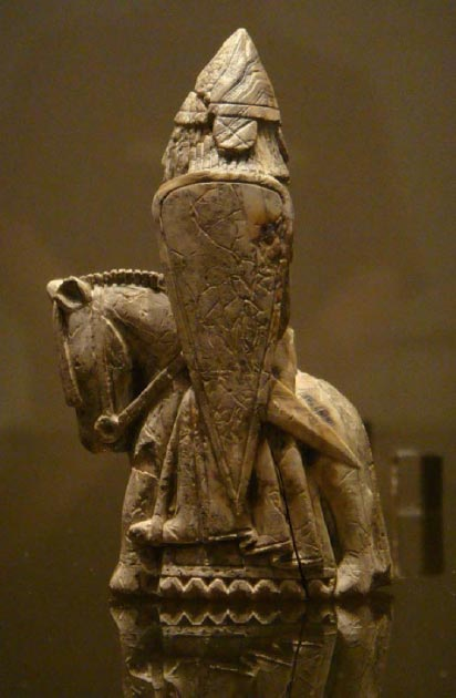 A knight from the Lewis chessmen set. (Nachosan/CC BY SA 3.0)