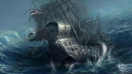 Illustration of a Kraken attacking ship