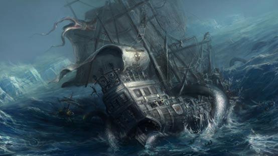 Illustration of a Kraken attacking ship