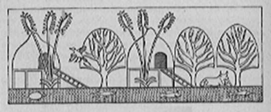 A landscape of Punt, showing several houses on stilts, two fruiting date palms, three myrrh trees, a bird, a cow, and unidentified fish and a turtle