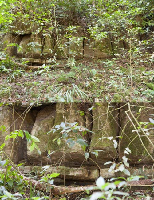 General view and detail of the large rock structure we encountered on the expedition.