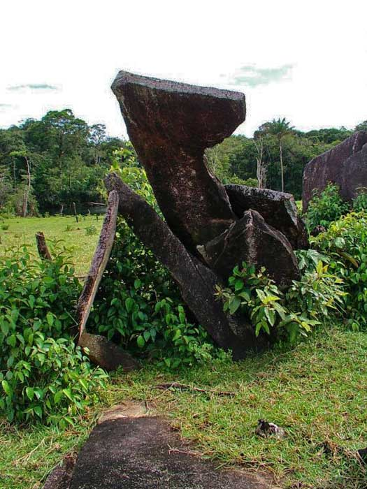 One of the large stones at the Rego Grande archaeological site in Brazil.
