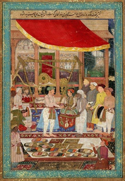 Jahangir weighing Prince (later Shah Jahan). (Circa 1610-1615)
