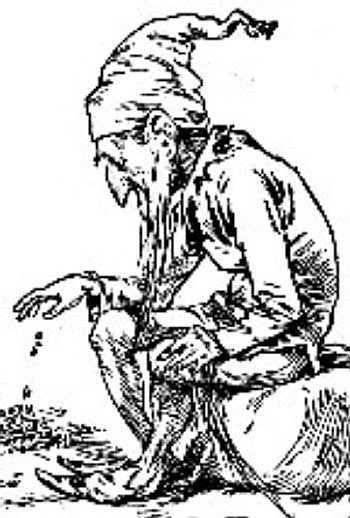 A leprechaun counts his gold in this engraving c. 1900.