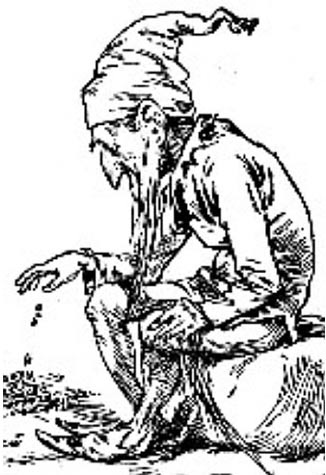 Engraving of a Leprechaun counting his gold, 1900