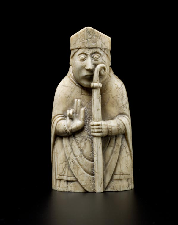 The bishop piece from the Lewis chessmen set