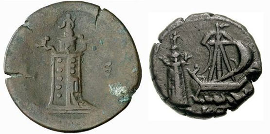 The Lighthouse on coins minted in Alexandria