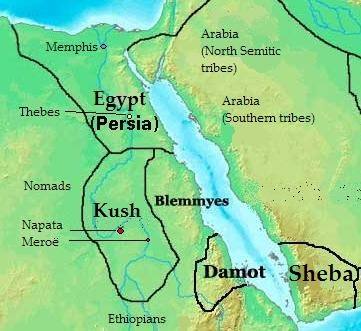 Location of Kush - Map Africa