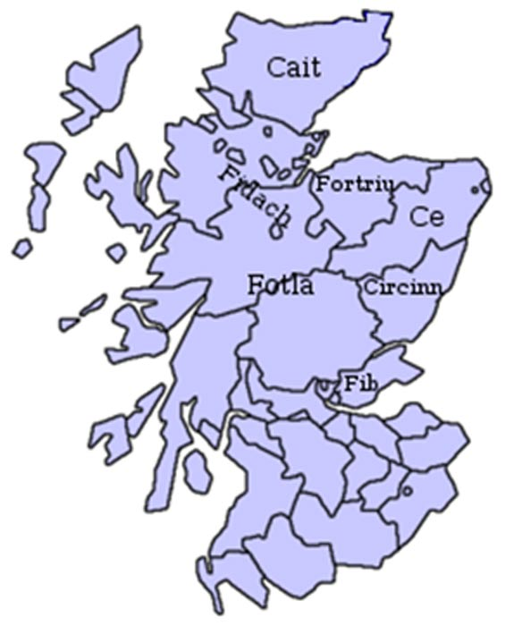 Approximate location of Pictish kingdoms.
