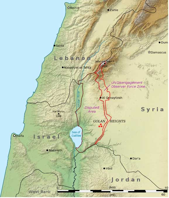 "Red marks indicate location of Rujm el-Hiri, ""stone heap of the wild cat""."