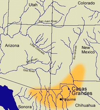 Map showing the location of the Casas Grandes culture.