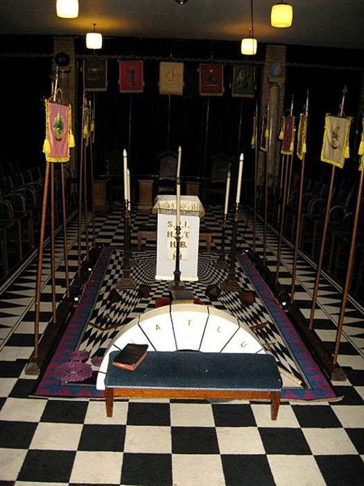 A lodge room set out for use by a Holy Royal Arch Chapter.