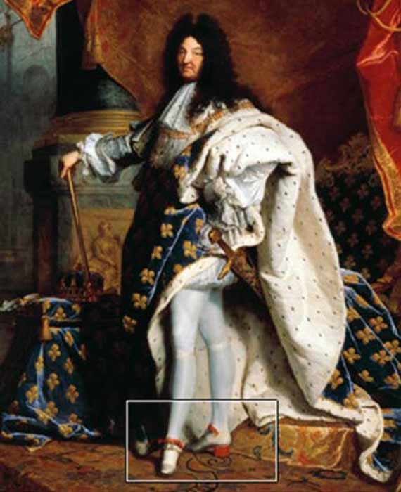 Louis XIV wearing his trademark heels in a 1701 portrait by Hyacinthe Rigaud (Wikipedia)