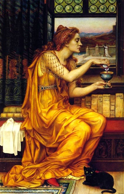 """The Love Potion"" by Evelyn De Morgan: a witch with a black cat familiar at her feet."