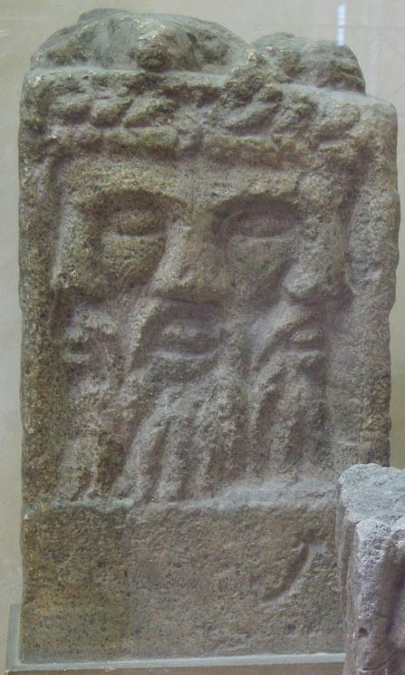 Altar depicting a tricephalic god identified as Lugus (Lugh)