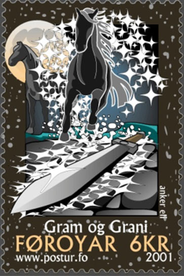 Faroe Island stamp by Anker Eli Petersen depicting the magical sword Gram.