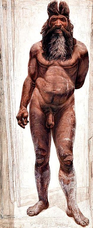 Illustration of what a male from about 430,000 years ago may have looked like, the Pit of Bones, Atapuerca, Spain.