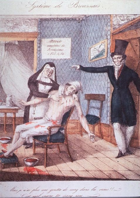 A man sitting in chair, arms outstretched, streams of blood pouring out as a nun places leeches on his body.