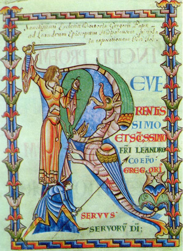 Historiated initial R from the frontispiece of a 12th-century manuscript of St. Gregory's Moralia in Job, Dijon, Bibl. Municipale, MS 2. (12th Century).