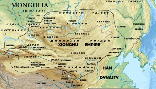 Map showing the territory of the Xiongnu Empire